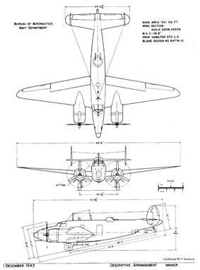 3-side-drawing of a PV-1 Ventura