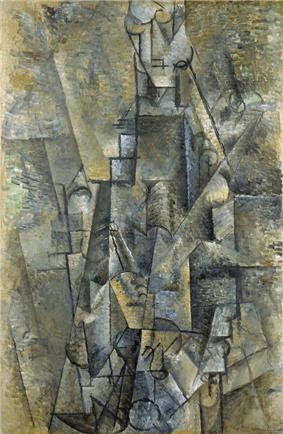 Pablo Picasso, 1911-12, L'Homme à la clarinette (Man with a Clarinette), oil on canvas, 106 x 69 cm, Museo Thyssen-Bornemisza, Madrid.jpg
