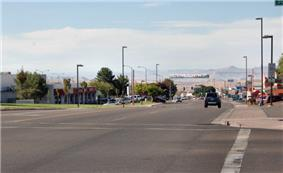 View of Lake Powell Boulevard in Page, Arizona