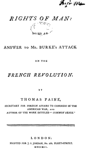 Title page from the Rights of Man