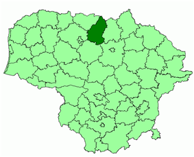 Location of Pakruojis district municipality within Lithuania