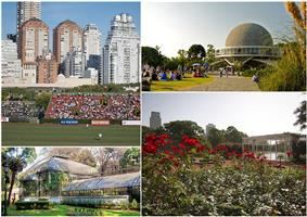 Clockwise from top: the Polo Stadium, the Galileo Galilei planetarium, the Palermo Woods and the Botanical Garden.