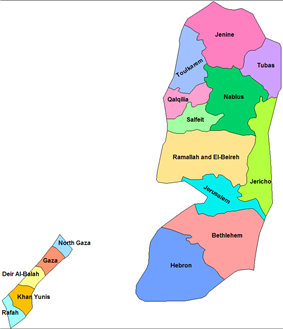 Map of Palestinian Authority governorates