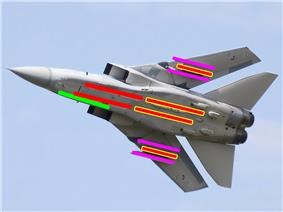 Underside view of jet fighter with colourful lines superimposed on the aircraft, showing under-wing and under-fuselage hardpoints