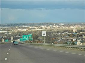 Great Falls, Montana as viewed from Interstate 15, looking due north