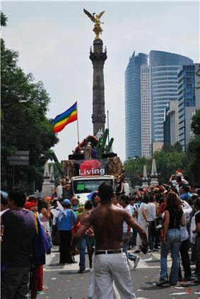 Photo from gay-pride parade in Mexico City, with rainbow flag