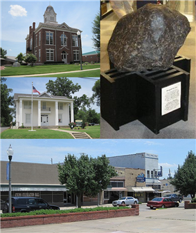 Clockwise from center: Paragould meteorite, Paragould Downtown Commercial Historic District, Greene County Museum, Historic Greene County Courthouse
