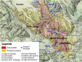 Map showing the location of Parco Nazionale d'Abruzzo, Lazio e Molise