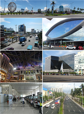 (From top, left to right): SM Mall of Asia, EDSA corner Taft Avenue, Mall of Asia Arena, Resorts World Manila, TwoE-comCenter, NAIA Terminal 2, Roxas Boulevard