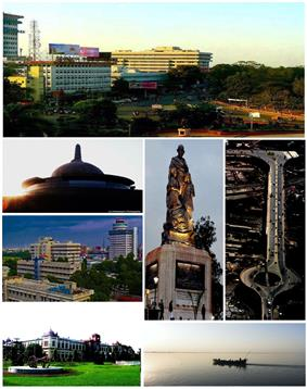Anticlockwise from top: Gandhi Maidan Marg, Buddha Smriti Park, Skyline near Biscomaun Bhawan, Patna Museum, Gandhi's statue, Mithapur Over Bridge and river [yamuna]