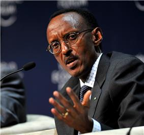 Close up profile picture of Paul Kagame, seated at the 2009 World Economic Forum