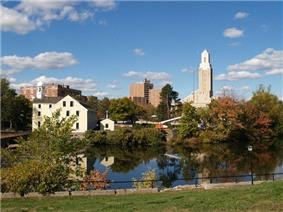 Downtown across the Blackstone River
