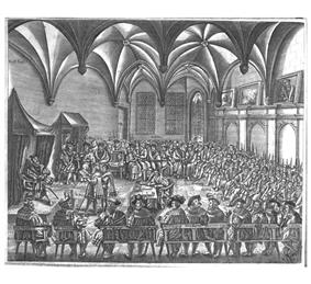Men gather in a large room, seated on benches around an open center space. Two men read a document to another man seated on a throne.