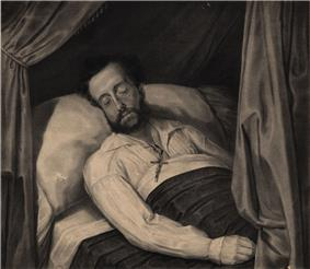 A lithograph depicting a curtained bed on which lies a bearded man with closed eyes and a crucifix lying on his chest