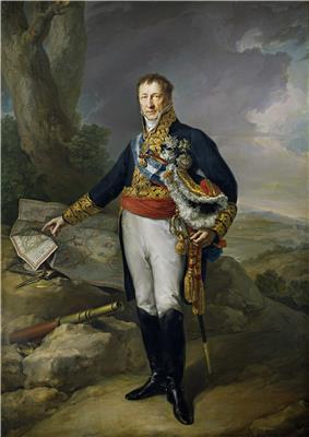 Painting of a standing man in a fancy blue military coat with white breeches and black boots. His right hand points to a map while his left arm cradles a bicorne hat.