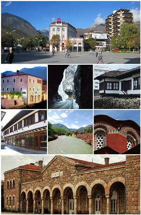 From top (left to right): Peja city center, Zenel Beg Tower (Kulla), Rugova Canyon, Ethnological Museum, Old Bazaar, Bistrica River, the Patriarchate of Peć and the train station of Peja.