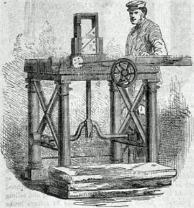 19th-century drawing of a factory worker at a pencil-making machine