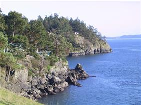 A view of North Pender Island's shoreline