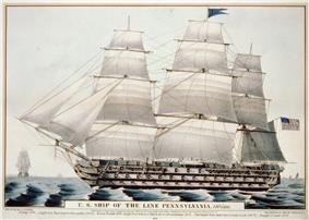 Currier lithograph of USS Pennsylvania, 1846