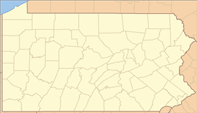 Location of Hills Creek State Park in Pennsylvania
