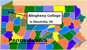 Map of Pennsylvania with Allegheny in Meadville in the upper left corner of the state