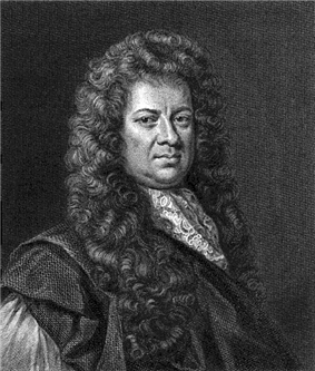 A copper engraving of a man with a composed expression wearing a large, dark, long-haired wig.