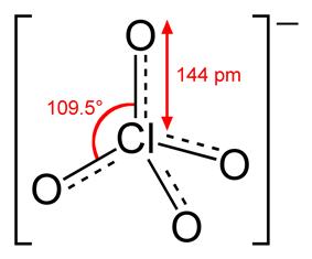 Skeletal model of perchlorate showing various dimensions