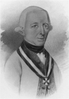 Black and white print of a long-nosed man in a late 18th century wig. He wears a white military coat with an Order of Maria Theresa cross.