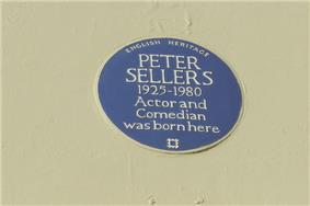 blue plaque commemorating Sellers