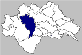 Map of Petrinja municipality within Sisak-Moslavina County