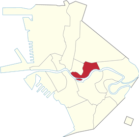 Map of Manila denoting the location of San Miguel
