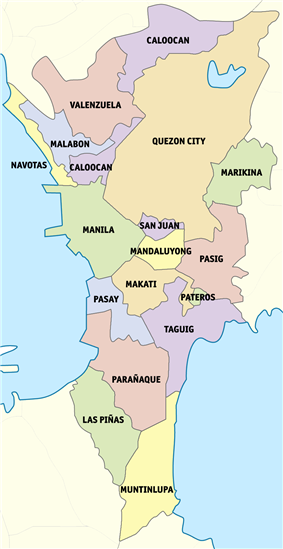 Political map of Metro Manila