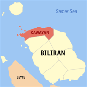 Map of Biliran with Kawayan highlighted