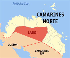 Map of Camarines Norte showing the location of Labo