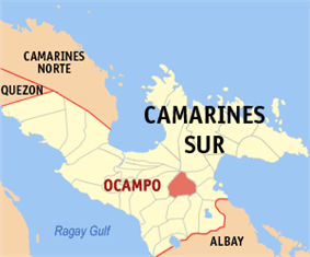 Map of Camarines Sur showing the location of Ocampo
