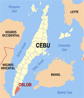 Map of Cebu with Oslob highlighted