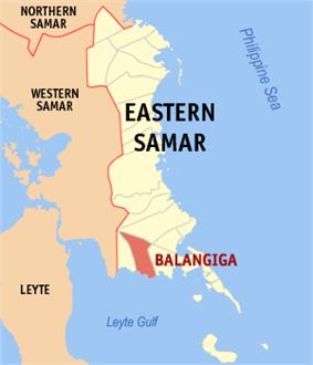 Map of Eastern Samar with Balangiga highlighted
