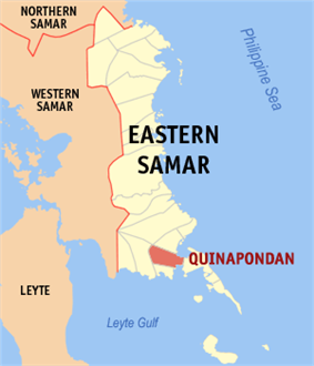 Map of Northern Samar with Quinapondan highlighted