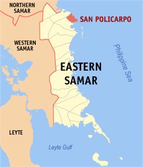 Map of Northern Samar with San Policarpo highlighted