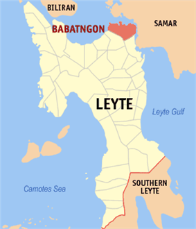 Map of Leyte with Babatngon highlighted