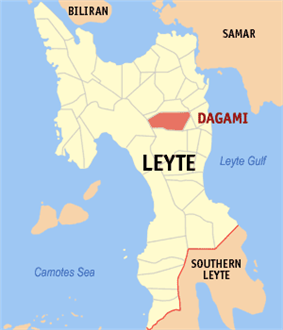 Dagami's location on the map of Leyte