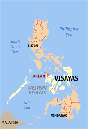 Map of the Philippines with Aklan highlighted