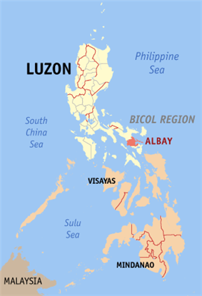 Map of the Philippines with Albay highlighted