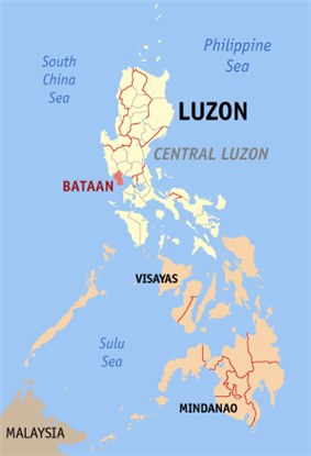 Map of the Philippines with Bataan highlighted