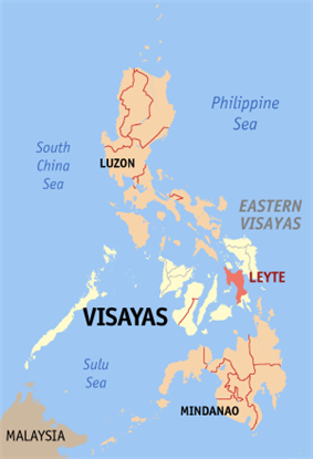 Map of the Philippines with Leyte highlighted