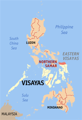 Map of the Philippines with Northern Samar highlighted