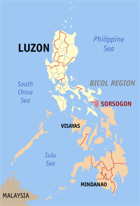Map of the Philippines with Sorsogon highlighted