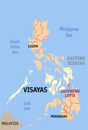 Map of the Philippines with Southern Leyte highlighted