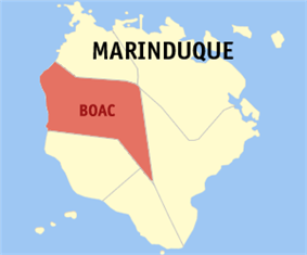 Map of Marinduque showing the location of Boac