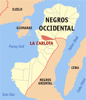 Map of Negros Occidental with La Carlota City highlighted